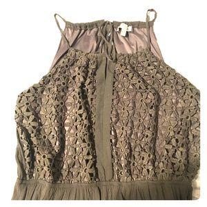 Green lace/chiffon maxi dress, size 1X
